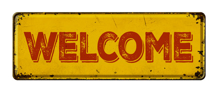 patina: Vintage rusty metal sign on a white background - Welcome Stock Photo