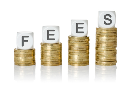 fees: Coin stacks with letter dice - Fees