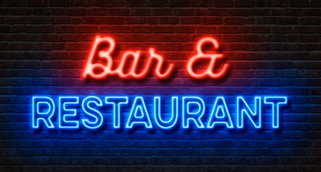 shop sign: Neon sign on a brick wall - Bar and Restaurant