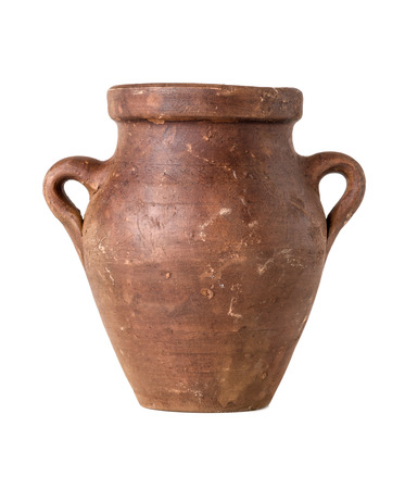 pot bellied: A terracotta amphora on a white background