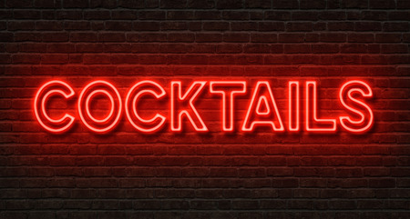 neon sign: Neon sign on a brick wall - Cocktails