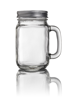 Mason Jar drinkglas met een handvat Stockfoto