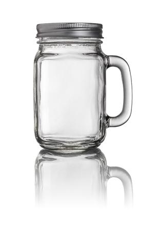 frasco: Mason Jar vidrio de consumición con un mango Foto de archivo