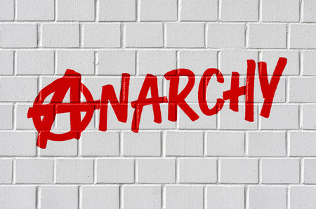 anarchism: Graffiti on a brick wall - Anarchy