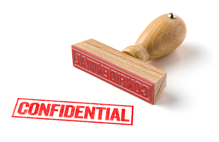 A rubber stamp on a white background - Confidential