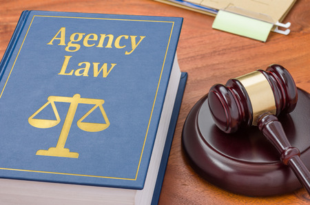 attorney scale: A law book with a gavel - Agency law Stock Photo