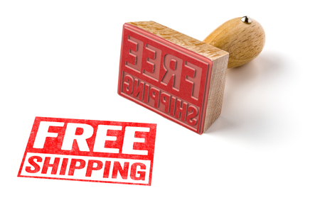 ship order: A rubber stamp on a white background - Free shipping Stock Photo
