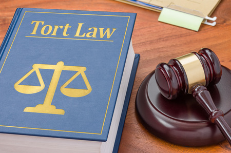 defamation: A law book with a gavel - Tort law Stock Photo