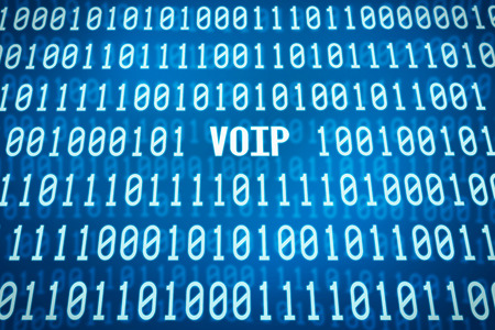 voip: Binary code with the word VOIP in the center Stock Photo