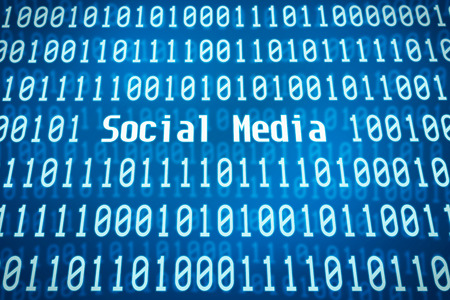 media center: Binary code with the word Social Media in the center