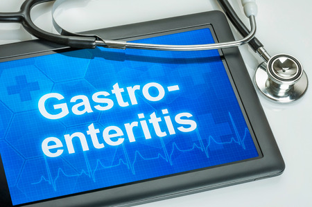 gastroenteritis: Tablet with the diagnosis Gastroenteritis on the display Stock Photo