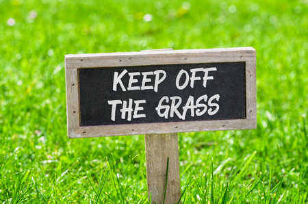 keep: Sign on a green lawn - Keep off the grass