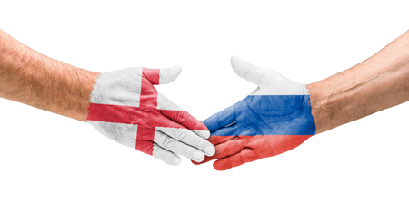 opponents: Football teams - Handshake between England and Russia