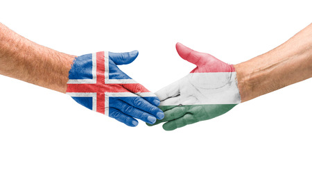 opponents: Football teams - Handshake between Iceland and Hungary