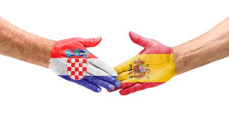 opponents: Football teams - Handshake between Croatia and Spain