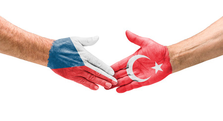 opponents: Football teams - Handshake between Czech Republic and Turkey