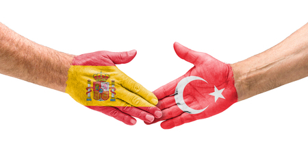 team sports: Football teams - Handshake between Spain and Turkey