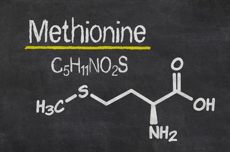 chemical formula: Blackboard with the chemical formula of Methionine