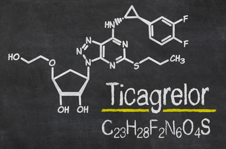 inhibitor: Blackboard with the chemical formula of Ticagrelor