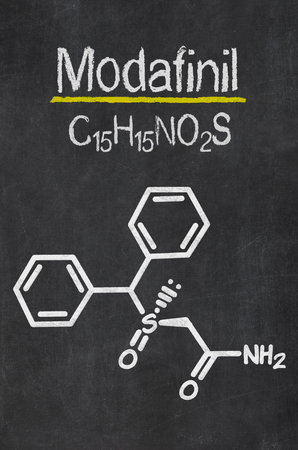 obstructive: Blackboard with the chemical formula of Modafinil
