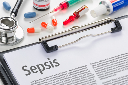 The diagnosis Sepsis written on a clipboard Stock Photo