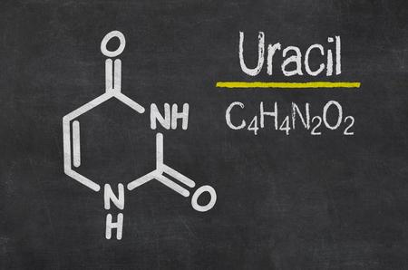 uracil: Blackboard with the chemical formula of Uracil
