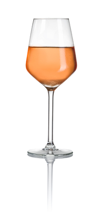 Rose wine in a glass on a white background Stockfoto