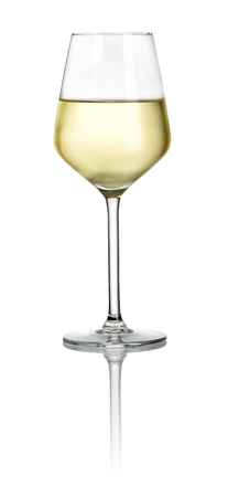 Filled white wine glass on a white background