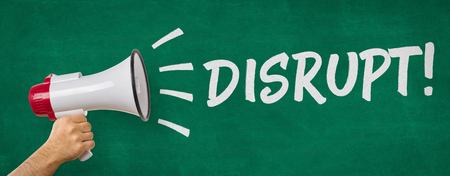 disrupt: A man holding a megaphone - Disrupt