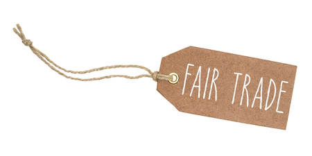 Tag on a white background with the text Fair Trade Stockfoto