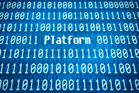 commision: Binary code with the word Platform in the center