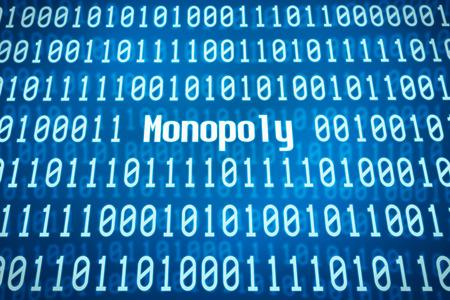 monopoly: código binario con la palabra monopolio en el centro Foto de archivo
