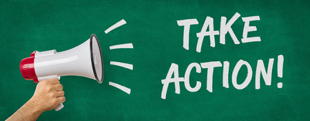take action: A man holding a megaphone - Take action