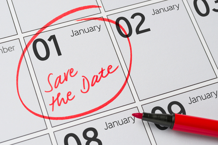 january 1: Save the Date written on a calendar - January 1