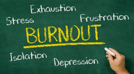 burnout: Hand writing on a chalkboard - Burnout