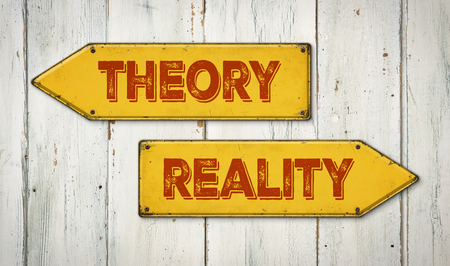 theory: Direction signs on a wooden wall - Theory or Reality