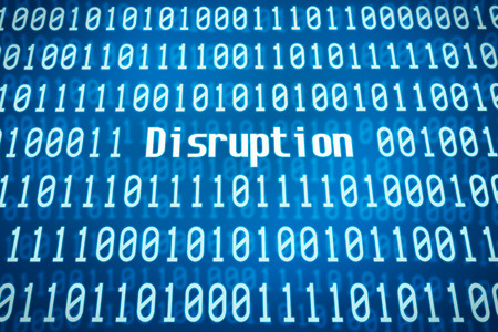 disruption: Binary code with the word Disruption in the center