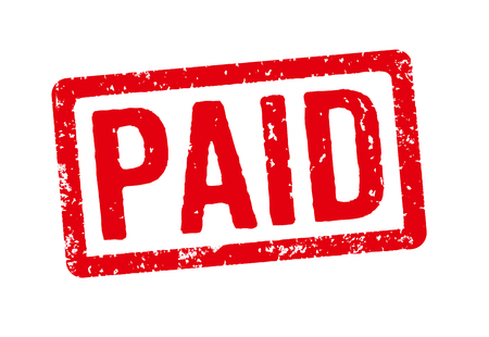expense: Red stamp on a white background - Paid Stock Photo