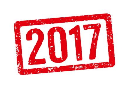 sello: sello rojo sobre un fondo blanco - 2017 Foto de archivo