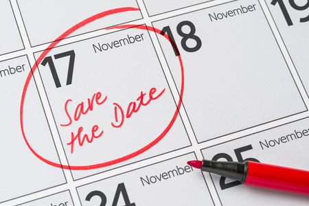 Save the Date written on a calendar - November 17 Stock Photo