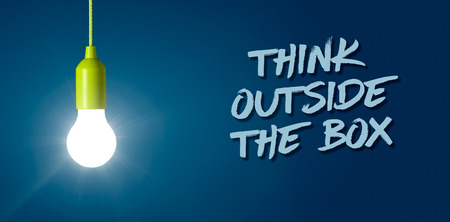 Glowing light bulb - Think outside the box