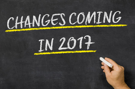 Nderungen im Jahr 2017 kommt auf eine Tafel geschrieben Standard-Bild - 64287327