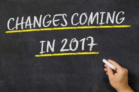 Změny Přicházejí v roce 2017 napsané na tabuli Reklamní fotografie