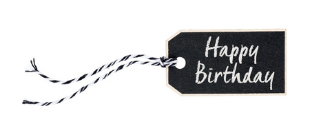 gist: Black tag on a white background with the text Happy Birthday