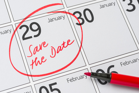 Save the Date written on a calendar - January 29