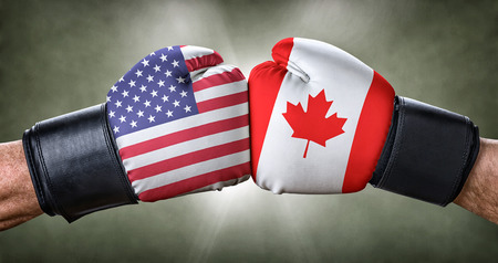 A boxing match between the USA and Canada