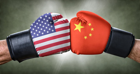 A boxing match between the USA and China Banco de Imagens - 67039286