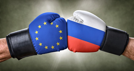 A boxing match between the European Union and Russia Stock Photo