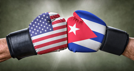 A boxing match between the USA and Cuba Stock Photo
