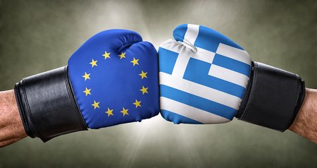 la union hace la fuerza: A boxing match between the European Union and Greece Foto de archivo